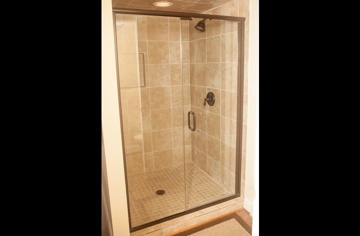 Large walk-in shower with dual shower heads