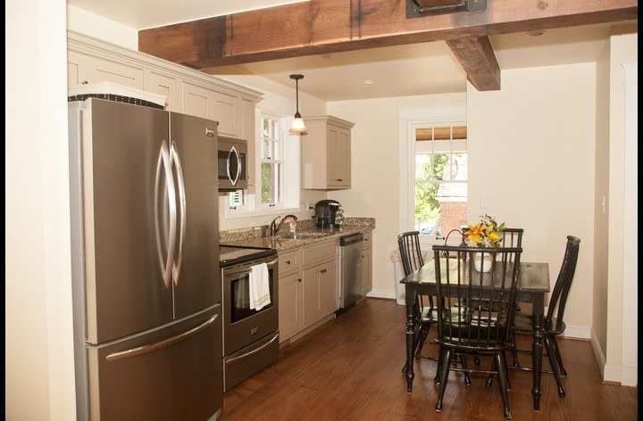 Stainless steel appliances, and custom cabinetry