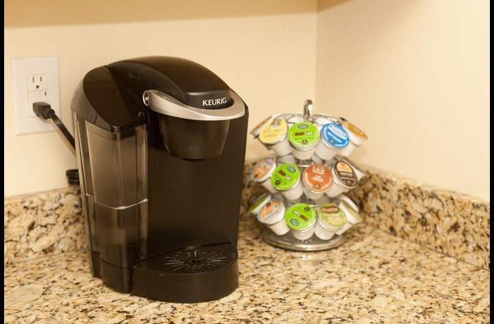 Keurig coffee awaiting you in the morning